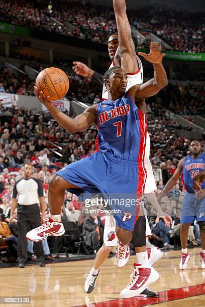 Ben Gordon of the Detroit Pistons looks to pass against LaMarcus Aldridge of the Portland Trail Blazers during the game at The Rose Garden on...