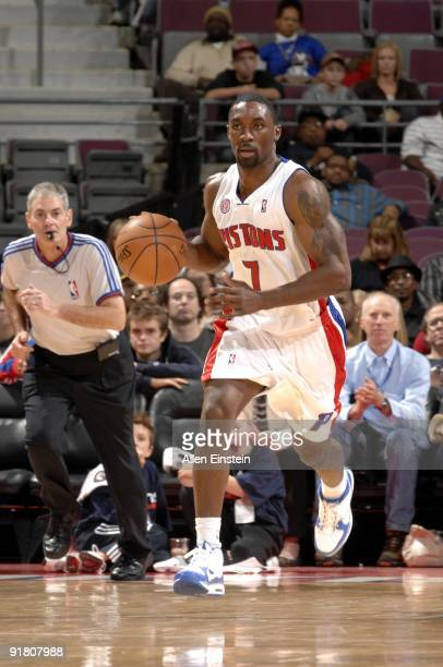 Ben Gordon of the Detroit Pistons moves the ball up court during a preseason game against the Atlanta Hawks at the Palace of Auburn Hills on October...