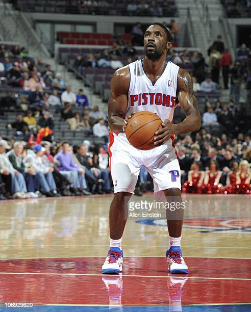 Ben Gordon of the Detroit Pistons stands at the free throw line during a game against the Charlotte Bobcats on November 5 2010 at The Palace of...