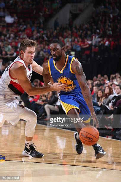 Ben Gordon of the Golden State Warriors handles the ball against the Portland Trail Blazers during a preseason game on October 8 2015 at the Moda...