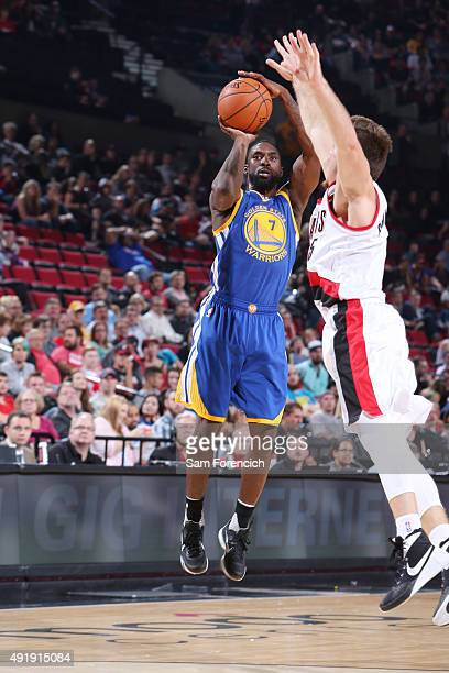 Ben Gordon of the Golden State Warriors shoots the ball against the Portland Trail Blazers during a preseason game on October 8 2015 at the Moda...