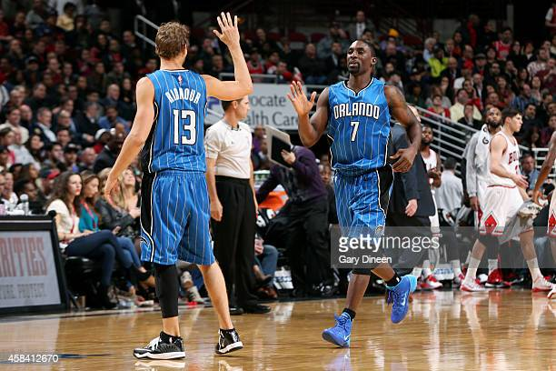 Ben Gordon of the Orlando Magic celebrates during a game against the Chicago Bulls on November 4 2014 at the United Center in Chicago Illinois NOTE...
