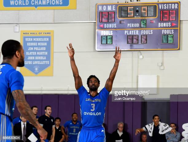 Ben Gordon of the Texas Legends celebrates in the final moments of the game against the Los Angeles DFenders on March 22 2017 at Toyota Sports Center...