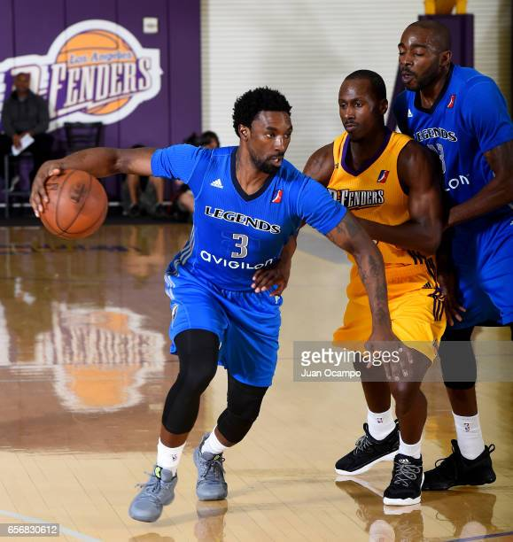 Ben Gordon of the Texas Legends dribbles the ball against the Los Angeles DFenders on March 22 2017 at Toyota Sports Center in El Segundo California...