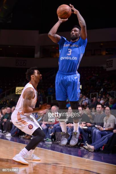 Ben Gordon of the Texas Legends shoots the ball against the Northern Arizona Suns on March 23 2017 at Prescott Valley Event Center in Prescott Valley...