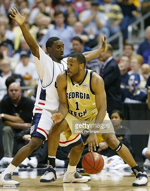 Ben Gordon of the UConn Huskies guards BJ Elder of the Georgia Tech Yellow Jackets during the National Championship game of the NCAA Men's Final Four...