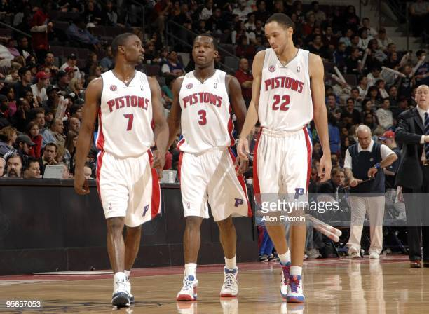 Ben Gordon Rodney Stuckey and Tayshaun Prince of the Detroit Pistons take the court during the game against the Chicago Bulls at the Palace of Auburn...