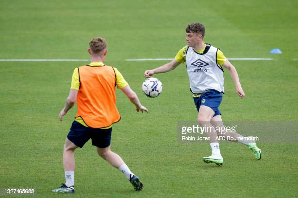 Ben Greenwood and Gavin Kilkenny of Bournemouth during a pre-season training session at Vitality Stadium on July 07, 2021 in Bournemouth, England.