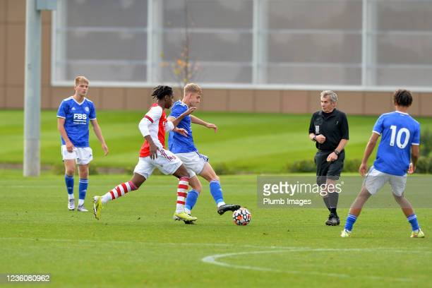 Ben Grist of Leicester City U18s during the Leicester City v Arsenal: U18 Premier League match at Seagrave on October 23, 2021 in Seagrave, United...