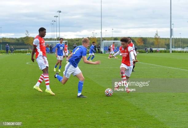 Ben Grist of Leicester City with Khayon Edwards of Arsenal and Bradley Ibrahim of Arsenal during the Leicester City v Arsenal: U18 Premier League...