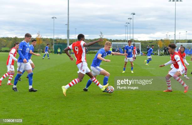 Ben Grist of Leicester City with Khayon Edwards of Arsenal during the Leicester City v Arsenal: U18 Premier League match at Seagrave on October 23,...