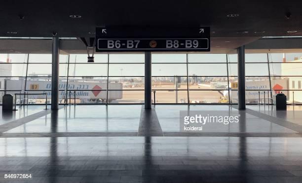 ben gurion airport boarding gates - ben gurion airport stock photos and pictures