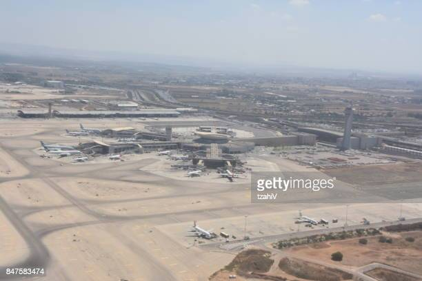 ben gurion airport from the air - ben gurion airport stock photos and pictures