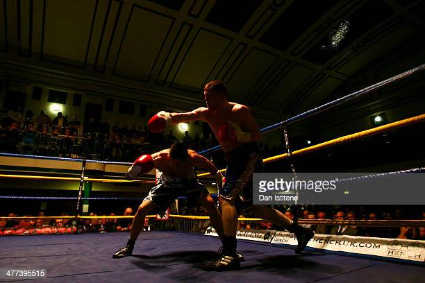 Ben Hall ducks a punch thrown by Jason McArdle during their Light Middleweight bout at York Hall on March 8 2014 in London England