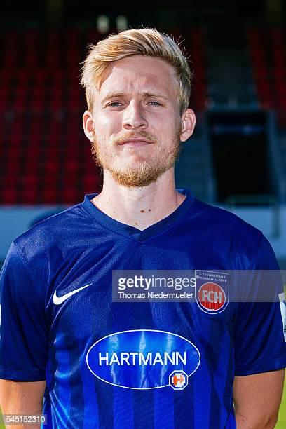 Ben Halloran poses during the 1FC Heidenheim team presentation at VoithArena on July 5 2016 in Heidenheim Germany