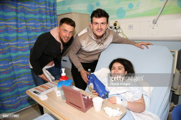 Ben Hamer and Harry Maguire as the Leicester City players deliver Christmas presents to patients at Leicester Royal Infirmary on December 20th 2017...