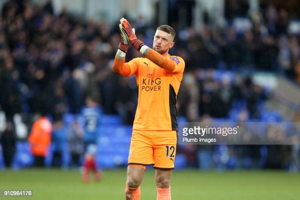 Ben Hamer of Leicester City applauds the revelling fans after The Emirates FA Cup Fourth Round tie between Peterborough United and Leicester City at...