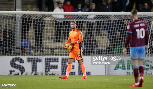 Ben Hamer of Leicester City in action during the Checkatrade Trophy tie between Scunthorpe United and Leicester City at Glanford Park on December 5th...