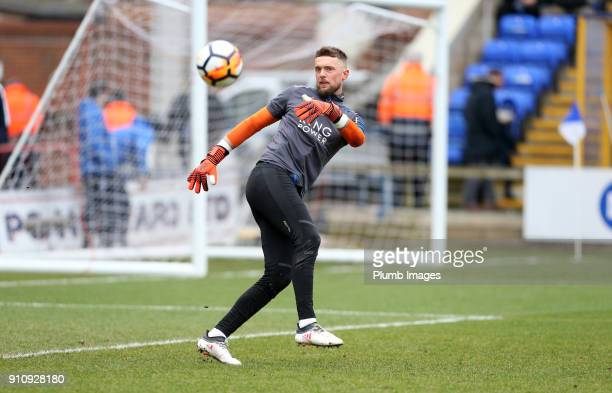 Ben Hamer of Leicester City warms up at ABAX Stadium ahead of The Emirates FA Cup Fourth Round tie between Peterborough United and Leicester City at...