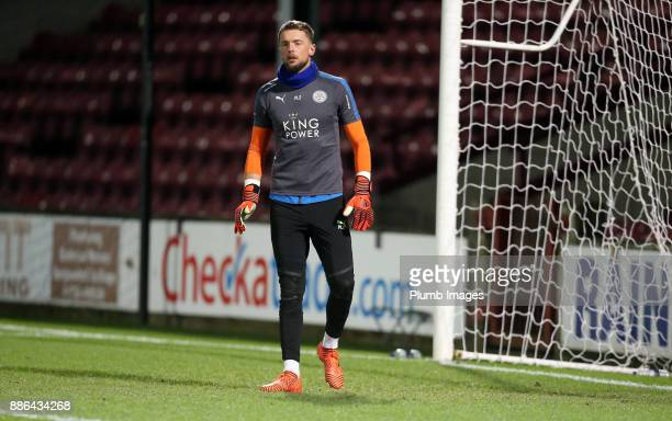 Ben Hamer of Leicester City warms up at Glanford Park ahead of the Checkatrade Trophy tie between Scunthorpe United and Leicester City at Glanford...
