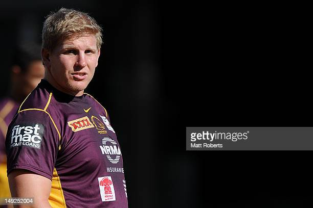 Ben Hannant of the Broncos looks on during a Brisbane Broncos NRL training session at the Broncos training fields on July 26 2012 in Brisbane...