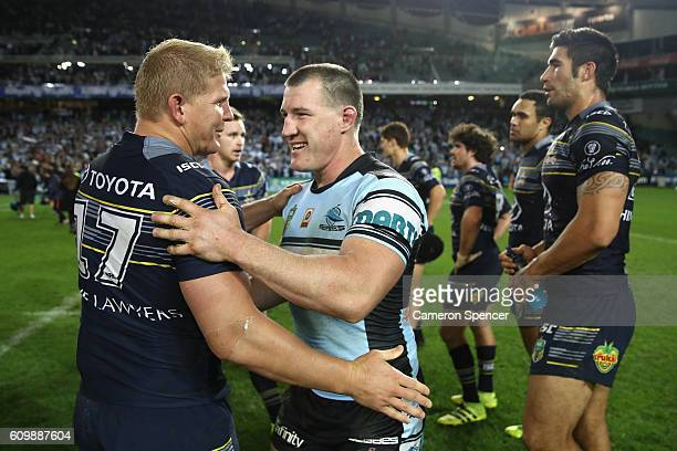 Ben Hannant of the Cowboys congratulates Sharks captain Paul Gallen after winning the NRL Preliminary Final match between the Cronulla Sharks and the...