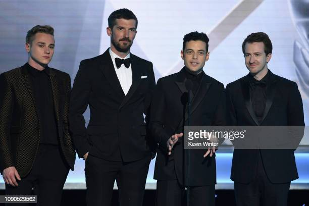 Ben Hardy Gwilym Lee Rami Malek and Joseph Mazzello speak onstage during the 25th Annual Screen ActorsGuild Awards at The Shrine Auditorium on...