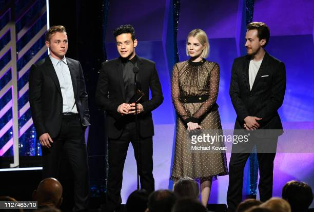 Ben Hardy Rami Malek Lucy Boynton and Joe Mazzello accept award for Best Ensemble for 'Bohemian Rhapsody' onstage at AARP The Magazine's 18th Annual...