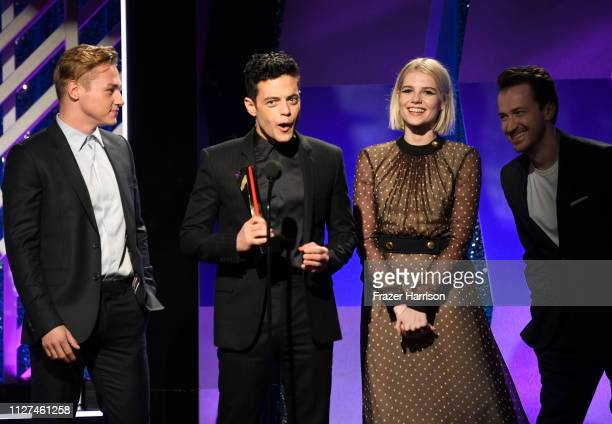 Ben Hardy Rami Malek Lucy Boynton and Joe Mazzello speak onstage at the 18th Annual AARP The Magazine's Movies For Grownups Awards at the Beverly...
