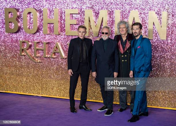Ben Hardy Roger Taylor Brian May and Gwilym Lee attend the World Premiere of 'Bohemian Rhapsody' at SSE Arena Wembley