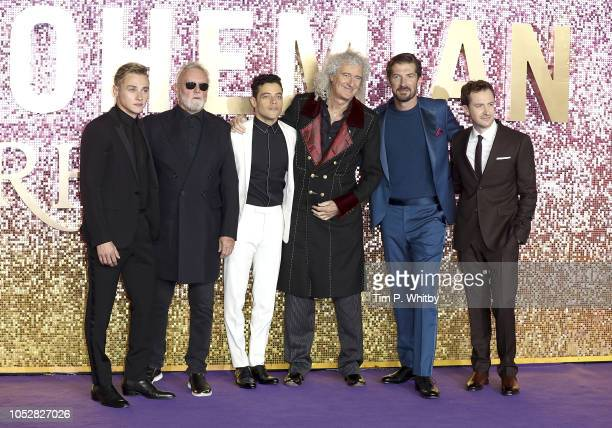 Ben Hardy Roger Taylor Rami Malek Brian May Gwilym Lee and Joe Mazzello attend the World Premiere of 'Bohemian Rhapsody' at The SSE Arena Wembley on...