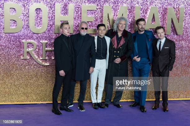 Ben Hardy Roger Taylor Rami Malek Brian May Gwilym Lee and Joe Mazzello attend the World Premiere of 'Bohemian Rhapsody' at the SSE Arena Wembley in...