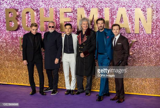 Ben Hardy Roger Taylor Rami Malek Brian May Gwilym Lee and Joe Mazzello attend the World Premiere of 'Bohemian Rhapsody' at SSE Arena Wembley
