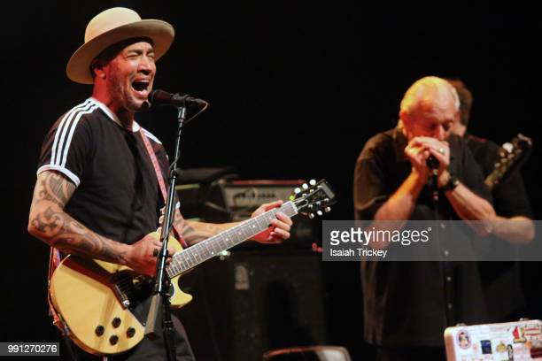 Ben Harper and Charlie Musselwhite perform during the 2018 Montreal International Jazz Festival on July 3 2018 in Montreal Canada