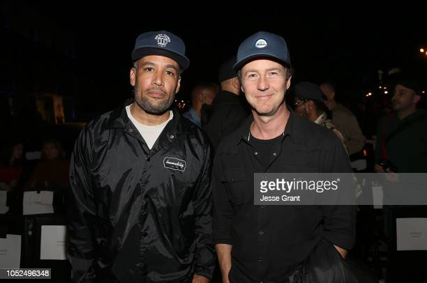 Ben Harper and Edward Norton attend the premiere of A24's Mid90s after party on October 18 2018 in Los Angeles California
