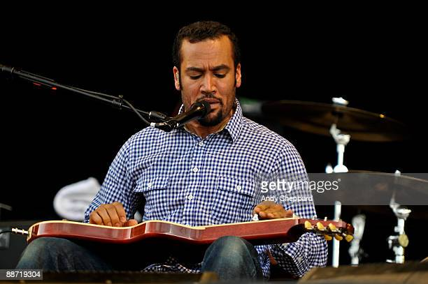 Ben Harper performs on stage on day 2 of Hard Rock Calling 2009 in Hyde Park on June 27 2009 in London England
