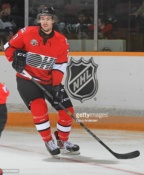Ben Harpur of Team OHL skates against Team Russia during the 2014 Subway Super Series at the Peterborough Memorial Centre on November 13 2014 in...