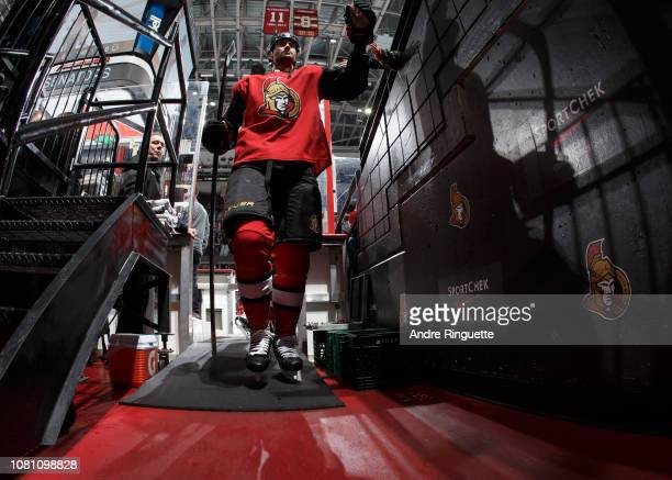 Ben Harpur of the Ottawa Senators leaves the ice after warmup prior to a game against the Boston Bruins at Canadian Tire Centre on December 9 2018 in...