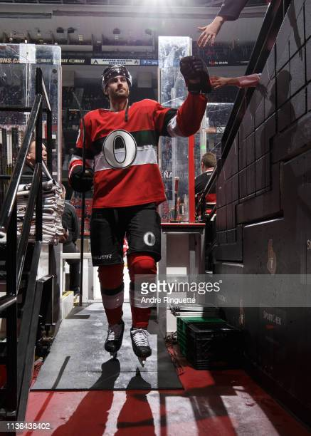Ben Harpur of the Ottawa Senators leaves the ice after warmup prior to a game against the St Louis Blues at Canadian Tire Centre on March 14 2019 in...