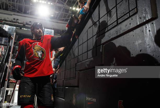 Ben Harpur of the Ottawa Senators leaves the ice after warmup prior to a game against the Calgary Flames at Canadian Tire Centre on March 9 2018 in...