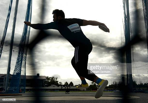 Ben Harradine of Australia competes in the Men's discus throw open during the IAAF Melbourne World Challenge at Olympic Park on March 22 2014 in...