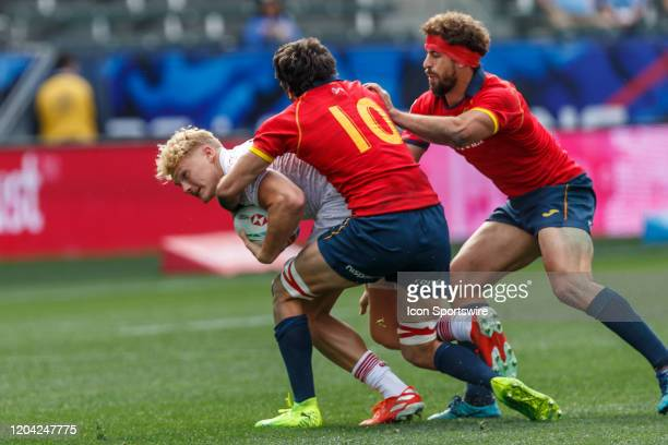 Ben Harris of England tackled by Inaki Mateu of Spain in Match England vs Spain during the LA Sevens Round 5 of the HSBC World Rugby Sevens Series...