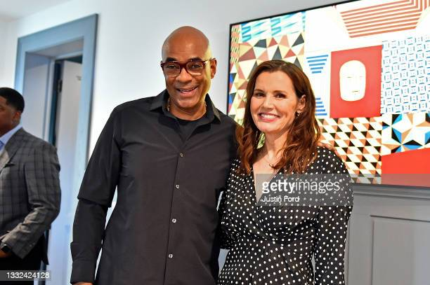 Ben Hassan and Geena Davis attend the 2021 Bentonville Film Festival opening night red carpet and filmmaker reception on August 04, 2021 in...