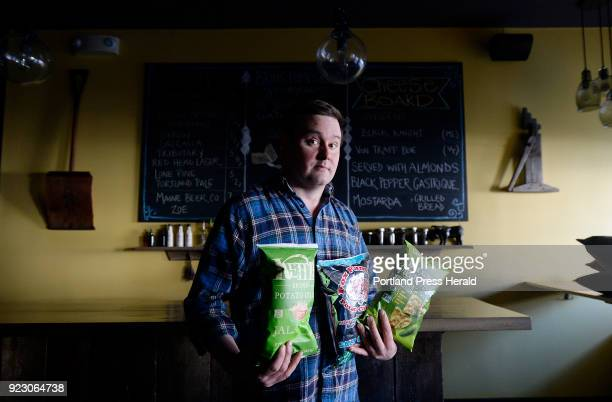 Ben Hasty chef/owner at thistle Pig restaurant in South Berwick with some of his favorite snacks including Kettle Brand Jalapeno Potato Chips Fox...