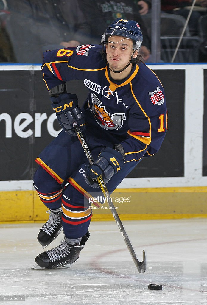 Ben Hawerchuk #16 of the Barrie Colts skates with the puck against the London Knights during an OHL game at Budweiser Gardens on November 25, 2016 in London, Ontario, Canada. The Knights defeated the Colts 4-1.
