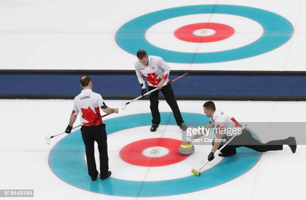 Ben Hebert of Canada delivers a stone compete during the Curling Men's Round Robin Session 3 held at Gangneung Curling Centre on February 15 2018 in...
