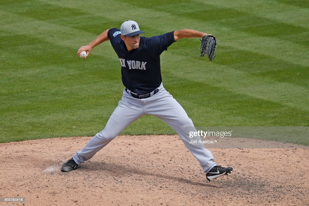 Ben Heller #61 of the New York Yankees throws the ball against the Washington Nationals in the seventh inning during a spring training game at The Ballpark of the Palm Beaches on March 20, 2017 in West Palm Beach, Florida. The Yankees defeated the Nationals 9-3.
