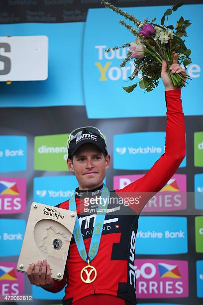 Ben Hermans of Belgium and BMC Racing Team celebrates on the podium after winning Stage 3 of the Tour of Yorkshire from Wakefield to Leeds on May 3...