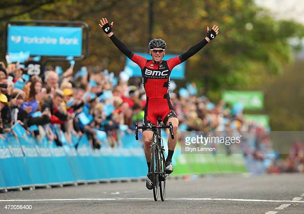 Ben Hermans of Belgium and BMC Racing Team celebrates winning Stage 3 of the Tour of Yorkshire from Wakefield to Leeds on May 3 2015 in Leeds England