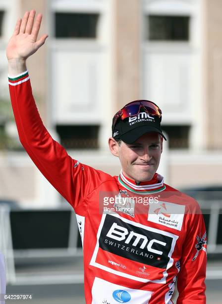 Ben Hermans of Belgium and the BMC Racing Team celebrates retaining his race lead after stage four of the 8th Tour of Oman a 118km stage from Yiti to...